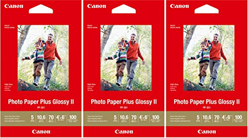 - Canon PP-301 Photo Paper Plus Glossy II (4x6, 300 Sheets) 3 Pack