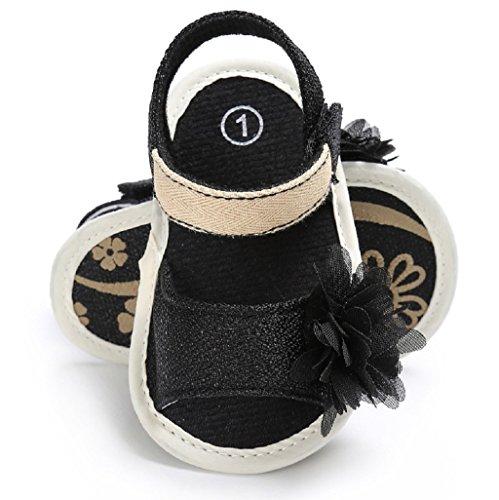 Bebé Prewalker Zapatos Auxma Niña Moda Verano Soft Sole Sandalias Zapatos para niños Zapatos antideslizantes para bebés Flor Princesa Zapatos para 3-6 6-12 12-18 meses Negro