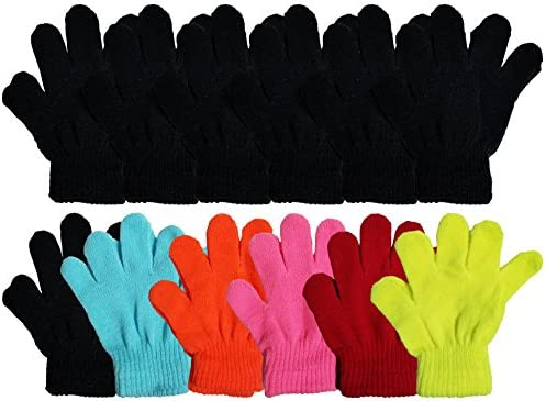 Cooraby 12 Pairs Kids Winter Magic Gloves Children Stretchy Warm Magic Gloves Boys or Girls Knit Gloves 6 to 12 Years 12 Random color