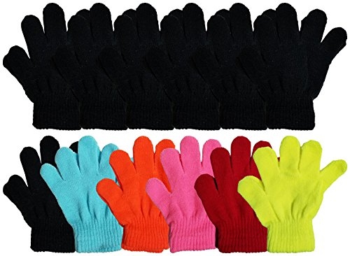12 Pairs Winter Magic Gloves for Kids, Stretchy Warm Knit Bulk Pack One Size Boys Girls Children (12 Pairs Assorted Solids) (Gloves Magic 1)