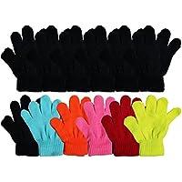 12 Pairs Winter Magic Gloves for Kids, Stretchy Warm Bulk Pack Boys Girls Children