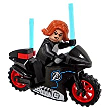 Lego Black Widow Minifigure with Motorcycle - Civil War Version - Loose