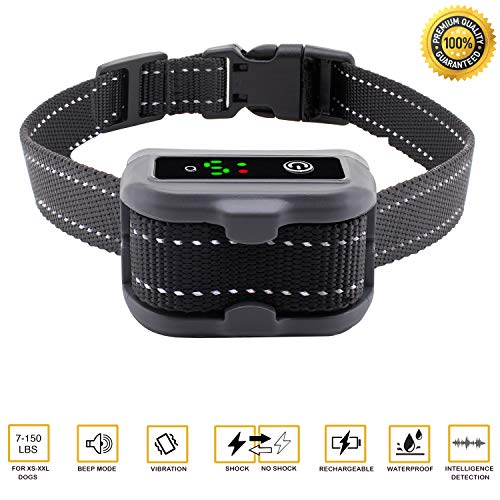 [2018 UPGRADED]Aarza No Bark Dog Collar with Dual Anti-Barking Modes - USB Rechargeable Battery - With Beep, Vibration, Harmless Shock Training Modes - For XS/Small/Medium/Large Dogs – IP67 Waterproof by Aarza