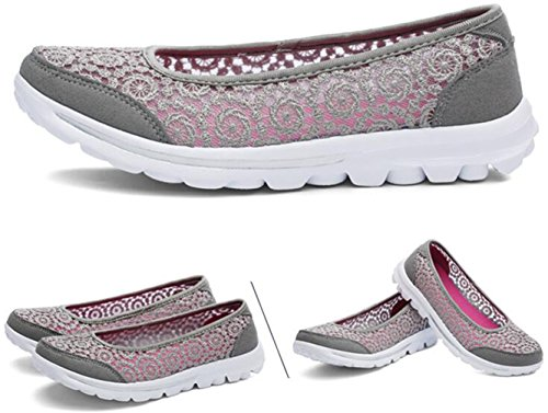 Lace Casual Breathable Loafers Hollow Shoes Womens Flat On Out Slip PPXID Gray qBTSInzwnp