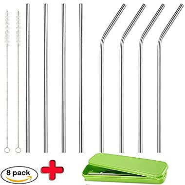 Accmor 18/8 Stainless Steel Straws, Reusable Metal Drinking Straws Fits 20 Oz Yeti Tumbler Rambler Cups (Length:8.5 in, OD:0.24 in, 4 Straight & 4 Bend, 2 Cleaning Brushes & Storge Box)