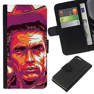 EJOY---La carpeta del tirón la caja de cuero de alta calidad de la PU Caso protector / Apple Iphone 5C / --Cowboy Cartel púrpura salvaje oeste