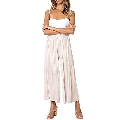 RISTHY Mujer Pantalones Anchos de Piernas Anchas Elegantes ...