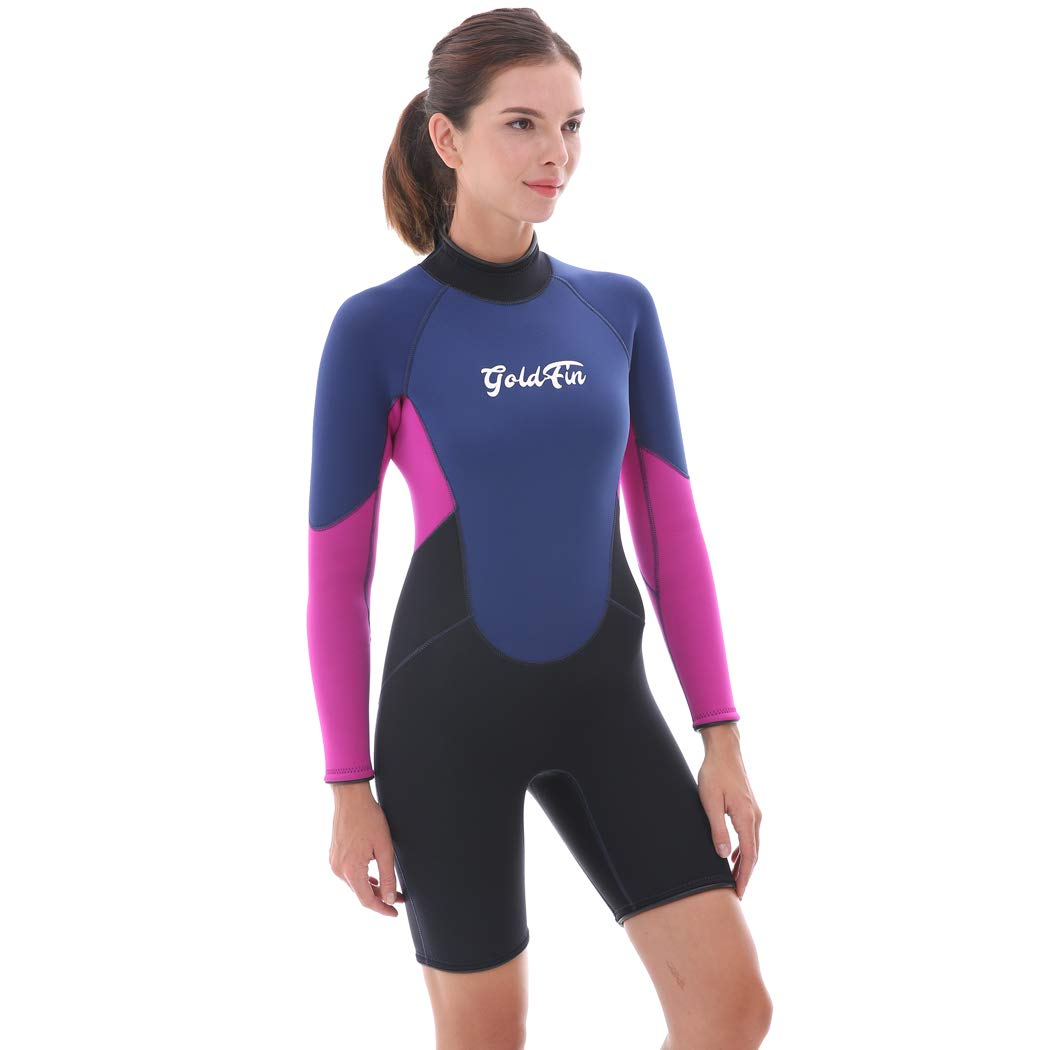 GoldFin Womens Shorty Wetsuits 3mm Neoprene Wetsuit, Back Zip Long Sleeve for Diving Surfing Snorkeling-One Piece Wet Suit, SW009 (Navy, S) by GoldFin