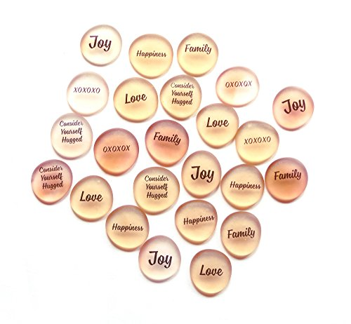 24 Frosted Glass Stones for Wedding Receptions, Party Favors and Table Decorations. Add Joy, Happiness and Love to Your Gathering, Literally. Peach.