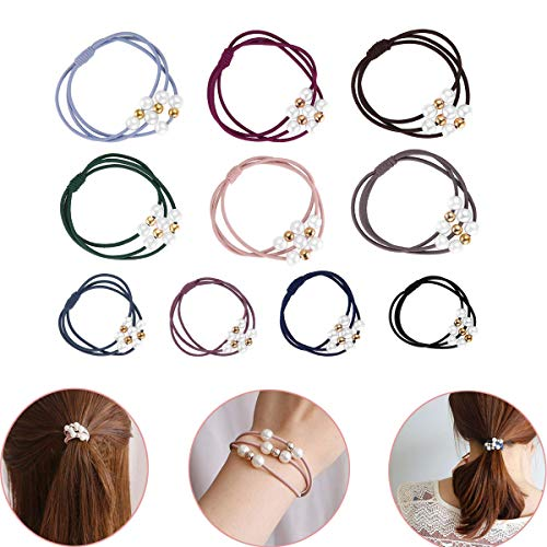 Luckycivia 30 Pcs Pearl Hair Ties, 10 Colors Multi Layer Hair Ring with Pearls, Elastic Bracelet Ponytail Holder, Hair Accessories for Women and Girls (Elastic Pearl Ring)