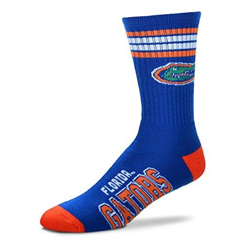 Rubber Gators Florida (For Bare Feet Mens NCAA 4 Stripe Deuce Crew Socks, Florida Gators, Large)