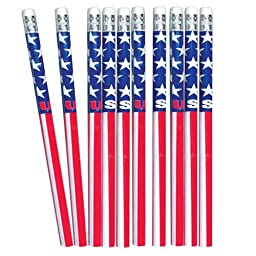 Patriotic Party Red White and Blue American Flag USA PENCILS (4 dozen)