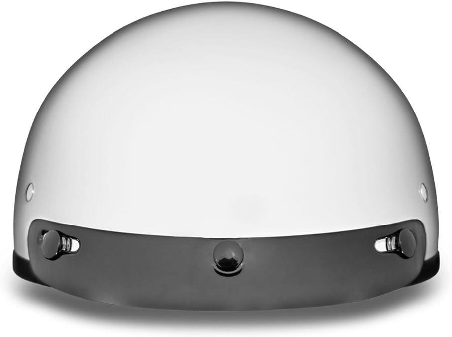 Hi-Gloss White 100/% DOT Approved Daytona Helmets Motorcycle Half Helmet Skull Cap