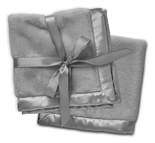 2 Gray Security Blankets, Baby Blankie Small Mini Blanket, 15 Inches x 15 Inches, Set of 2, Satin Trim, 2 ()