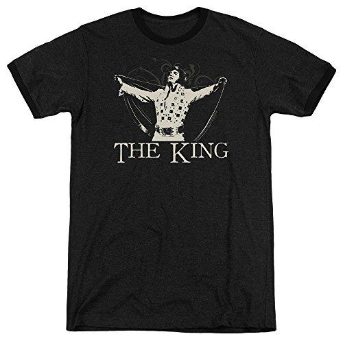 Elvis Presley Ornate King Mens Adult Heather Ringer Shirt Black Sm -