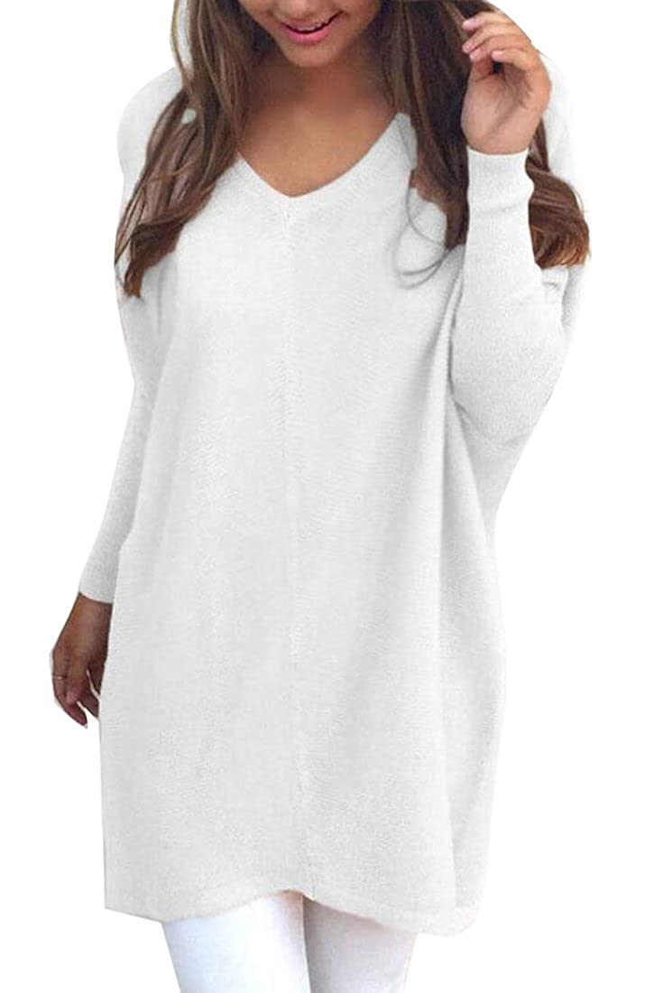 81e4b034bce MU2M Women s Winter Thick V-neck Knitted Pullover Sweater Dress at Amazon  Women s Clothing store