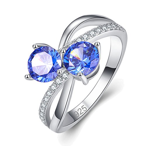 Psiroy 925 Sterling Silver Created Tanzanite Filled Bypass Ring Size 11