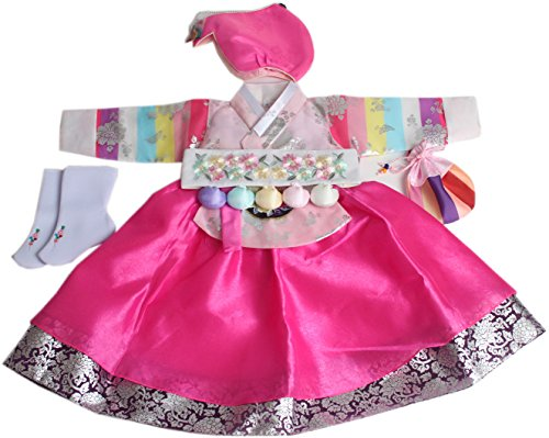 Korean Hanboks girls DOLBOK 1st birthday traditional costumes hb062/1 by hanbok store