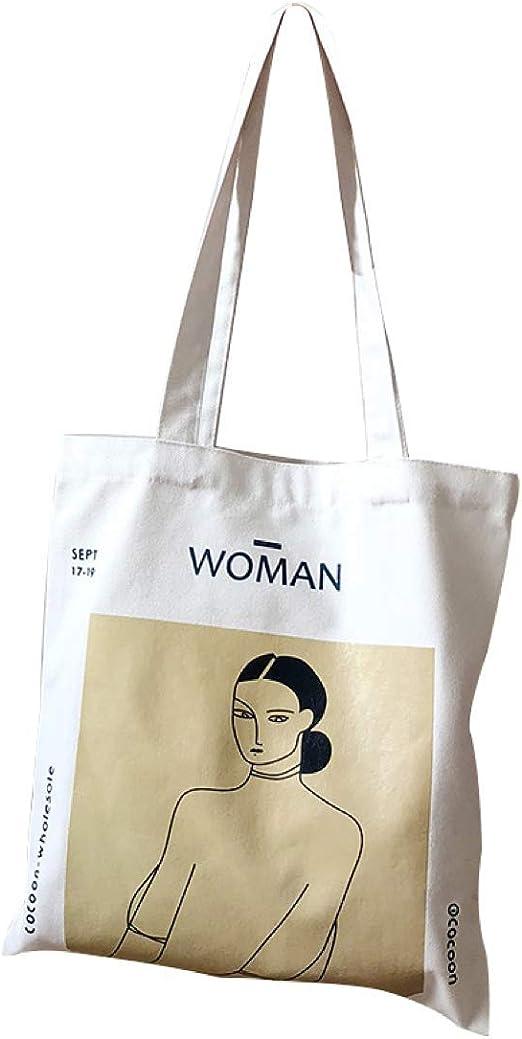 anaan Woman Bolsa al Hombro de 100% algodón con Asas Reutilizable ...
