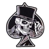 Stickers Patches for Clothing 1pcs Skull Top Hat Spade Mc Jacket Back Patch Emblem Biker Vest Punk Rockabilly Applique Iron On