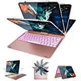 Luibor Keyboard Case for iPad Pro 12.9 2018 - 360 Rotatable - Backlit 7 Colors - Wireless Keyboard Case for iPad Pro 12.9 2018 Not fit for iPad Pro 12.9 2017 2015(Rosegold)