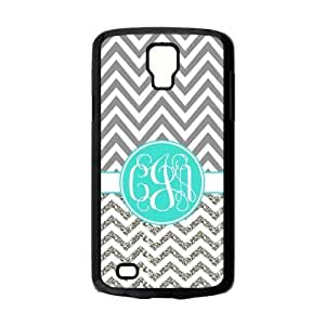 Gray White Chevron Zigzag Pattern & Turquoise Monogram White Initials Personalized Custom Samsung Galaxy S4 ACTIVE Best Plastic Hard Case