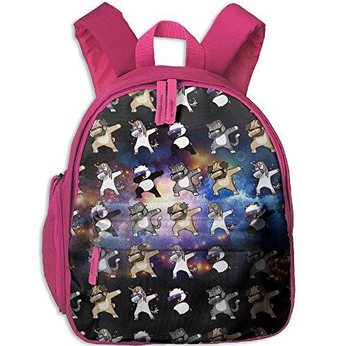 HZamora_DM Kid Dabbing Unicorn Cat Pug Panda Funny Oxford School Bag Backpacks Bookbag Lunch Bag Side Pocket - Buy Online Delivery Day Next