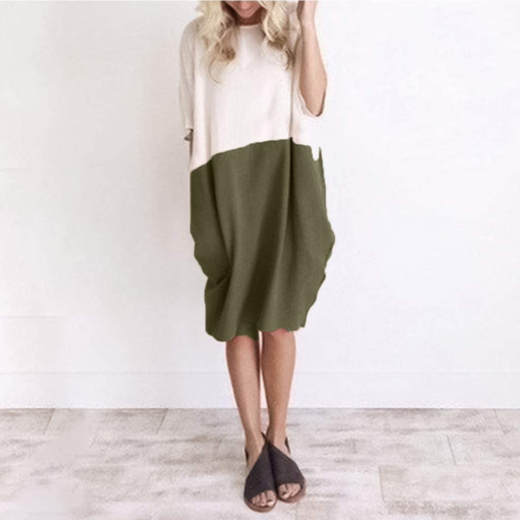 ✙COOlCCI✙ Classic Solid Color Stitching Linen/&Cotton Spring Summer Plus Size Clothing Y108