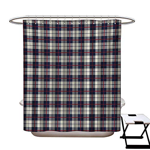 (BlountDecor Abstract Shower Curtains 3D Digital Printing Colorful Stripes Square Shaped Geometric Line Checkered Artsy Pattern Custom Made Shower Curtain W48 x L72 Egg Shell Red Dark Blue)