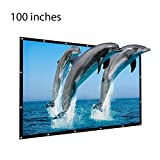 100 inch Projector Screen, 16:9 Outdoor Portable Foldable Movie Screen for Home Cinema Theate Movies, Business Presentation, Education Training, Outdoor Public Display etc.