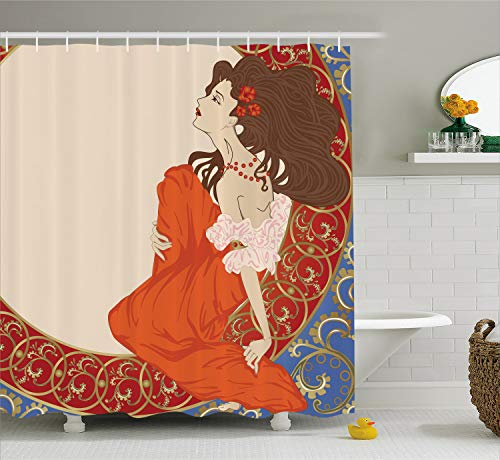 Ambesonne Art Nouveau Shower Curtain, Antique Woman in an Old Fashioned Medieval Dress Floral Rich Framework Print, Cloth Fabric Bathroom Decor Set with Hooks, 84 inches Extra Long, Cream Orange