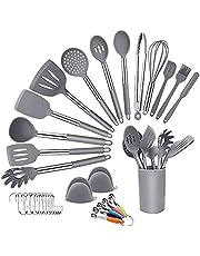 Köksredskapsset,Silikon matlagningsredskapsset, 33 + 1 st silikon matlagning köksverktyg med tång, spatel, skedar, snurre, kök köksredskap BBQ verktyg med silikonhandtag, grå