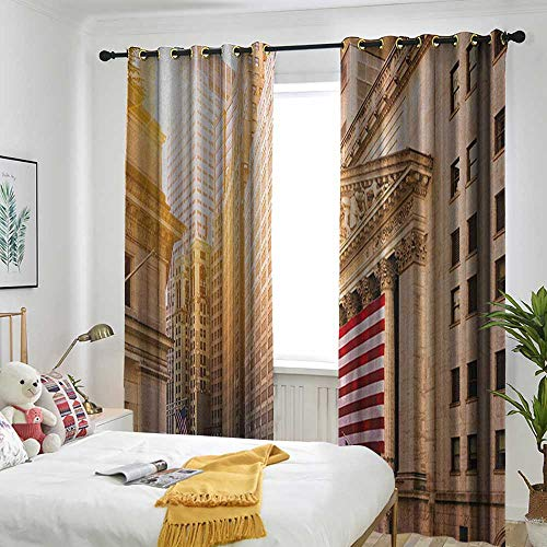 (TRTK Blackout Curtains 2 Panels Bedroom Parasol United States,Famous Wall Street Building New York Stock Exchange with Flags Urban Sand Brown Navy Red)