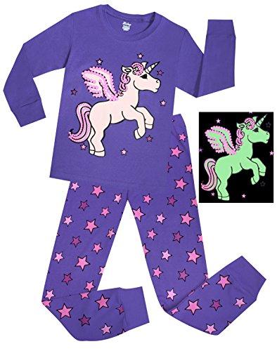 Girls Horse Pajamas Shine At Night Sleepwear Children Cotton Christmas PJs Set