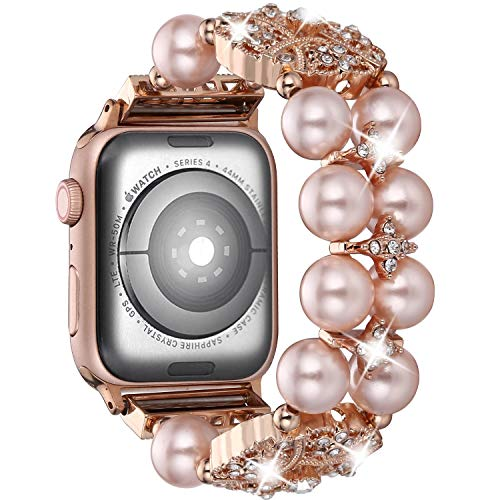 Brione Compatible with Apple Watch Band 42mm 44mm, Stretchy Pearl Beaded iWatch Band Bracelet Women Series 4 3 2 1 Bling Diamond Rhinestone Strap Cuff Ladies Jewelry Wristband - Rose ()