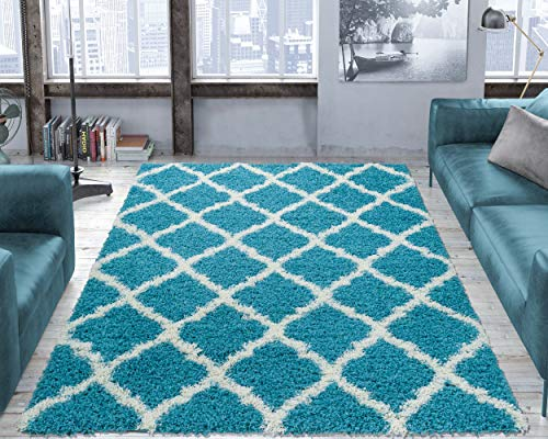 Ottomanson shag Collection Area Rug 5#0393quot x 7#039 Turquoise