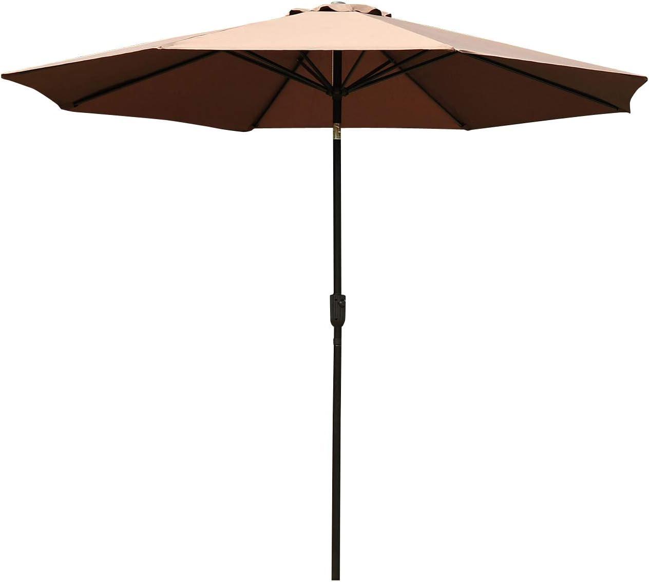 Outsunny Parasol Grande de Jardín Sombrilla para Exterior Desmontable Ángulo Regulable y Manivela de Apertura Fácil Φ300x245cm Café
