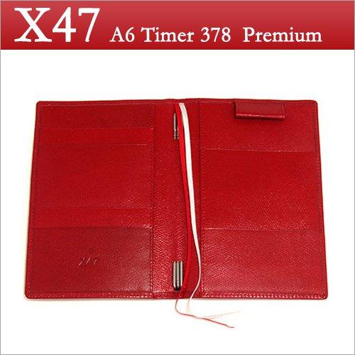 X47 ドイツ製 システム手帳 A6タイマー レッド 本革手帳 プレミアム カリプソ A6 Timer 378 Premium   B00KAPVOQY