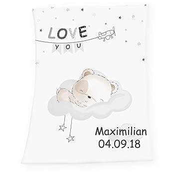 Soft Babydecke mit Namen Datum bestickt Decke 75x100 cm Minnie Mouse Geschenk zur Taufe zur Geburt Kinderdecke