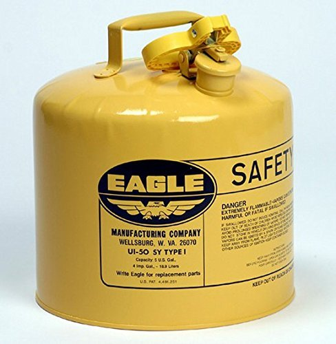 Safety Cans - 5 Gallon Yellow Type I Safety Can - SAFETY-EG-UI-50-SY