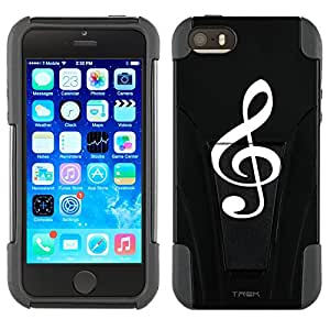 Apple iPhone 5 Hybrid Case Silhouette Treble Clef Musician on Black 2 Piece Style Silicone Case Cover with Stand for Apple iPhone 5 and 5S