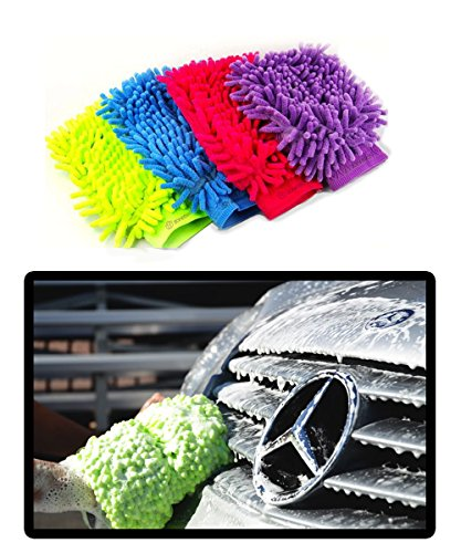 Zone Tech Micro Fiber Wash Mitt - Set of 2- Colors may vary