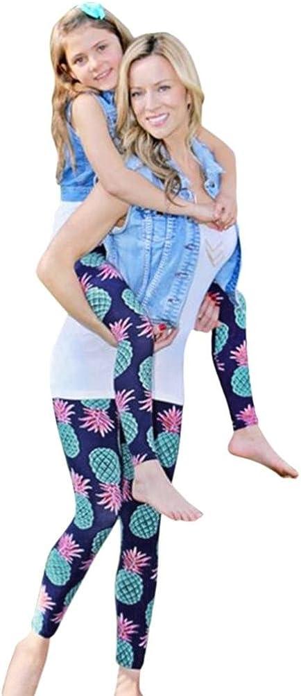 FORESTIME Mom&Me Children Baby Girls Fruit Pineapple Print Leggings Family Trousers Elastic Long Pants