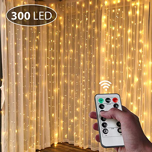 UBEGOOD Window Curtain String Light, 300 LED USB Icicle Curtain Lights, with Remote Control Timer, 8 Modes Setting, for Bedroom Home Garden Wall Wedding Party Outdoor Indoor (Warm White)