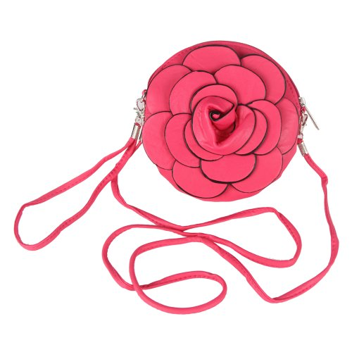 Your Gallery Designer Raised Flower Coin Purse Round Shaped Pouch Bag Wristlet Rose Wallet Handbag Faux Leather 3D