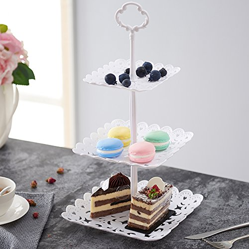 2 Set of 3-Tier Cake Stand and Fruit Plate Cupcake Plastic Stand White for Cakes Desserts Fruits Candy Buffet Stand for Wedding & Home & Birthday Party Serving Platter by Agyvvt (Image #4)
