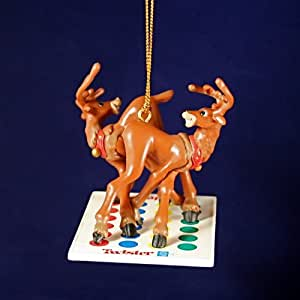 REINDEER PLAYING TWISTER CLASSIC HASBRO GAME CHRISTMAS COLLECTIBLE ORNAMENT FROM BASIC FUN