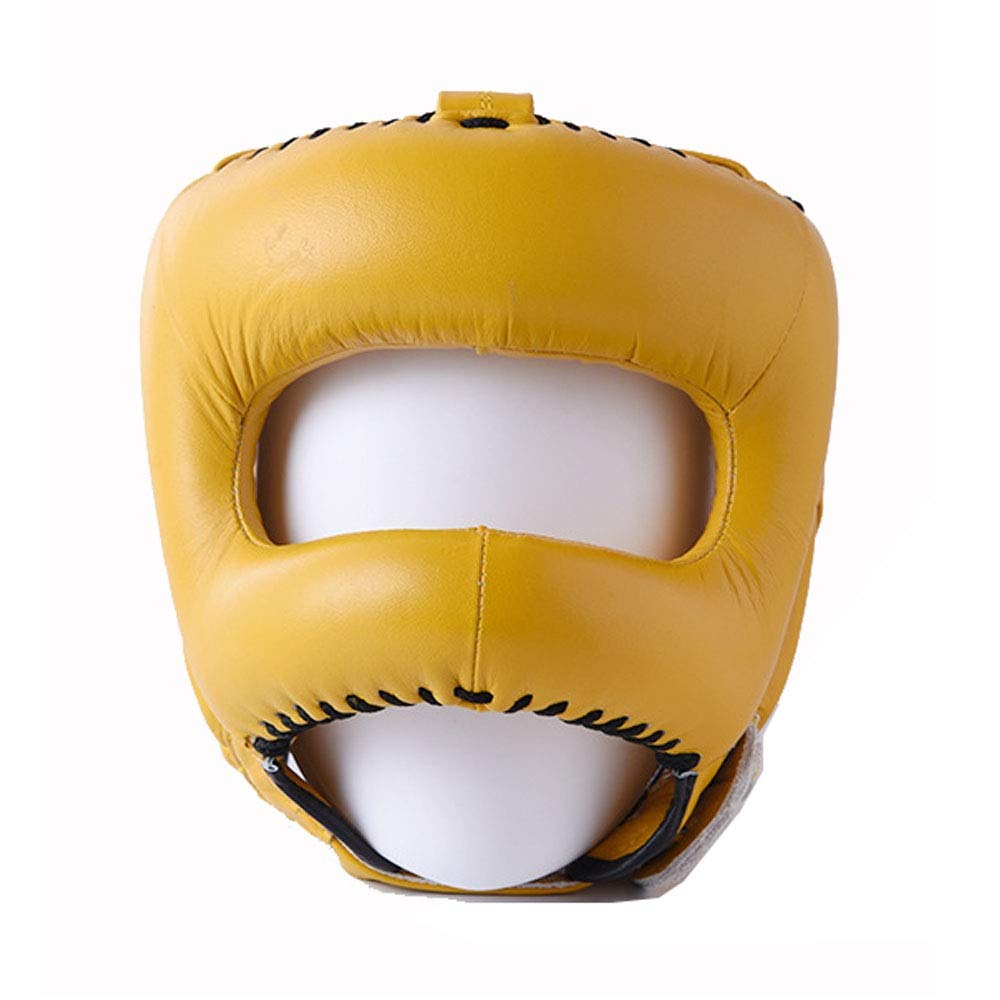 Lzcaure-SP Casco de Boxeo Piel Guardia Cabeza Boxeo MMA Casco Protector de arn/és Lucha Combate Casco de 5 Colores protecci/ón para la Cabeza Color : Amarillo, tama/ño : Un tama/ño