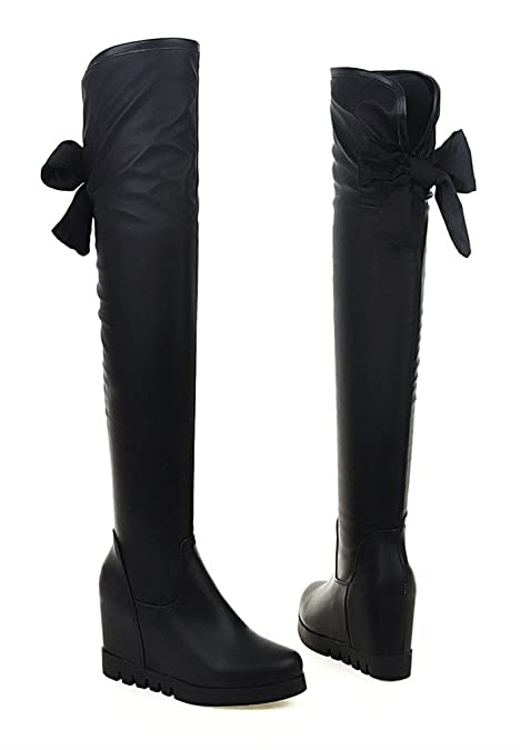 YE Damen Runde Spitze Wedges Overknee High Heels Stiefel Plateau mit Keilabsatz  Schleife Hinten 7cm Absatz Boots Schwarz: Amazon.de: Schuhe & Handtaschen