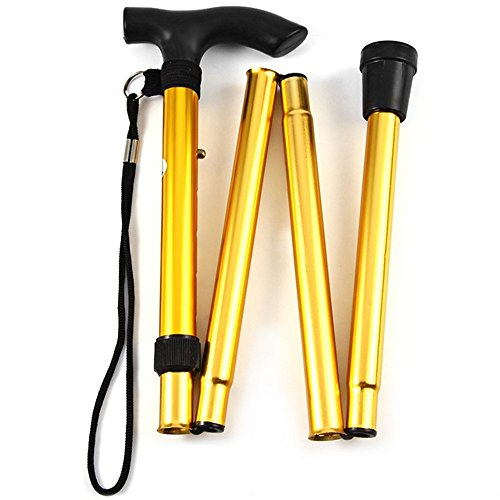- Walking Stick Hiking Walking Trekking Trail Ultralight 4-section Adjustable Canes Aluminum Alloy Folding Cane Walking Sticks (Gold)